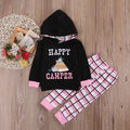 happy camper 0-24M plaid infant toddler kids children clothes Baby Girl Hooded Tops+Pants 2PCS Outfit Set new autumn spring