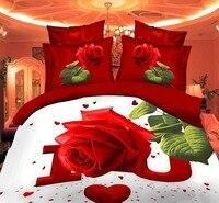 Роскошные 3D Постельное белье постельный комплект Набор пододеяльников для пуховых одеял постельное белье сабанас Queen/King Размеры, романтиче