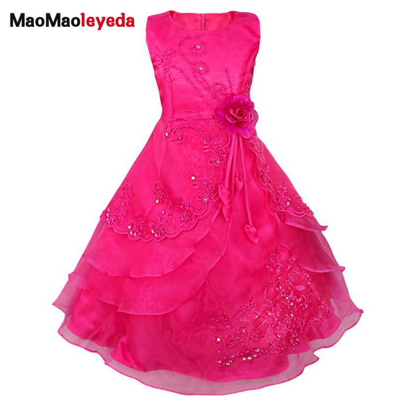 Kids Flower Girls Dress Embroidered Pageant Party Wedding Bridesmaid Ball Gown Prom Princess Formal Occassion Long Dress 4-14Y 2017 new flower embroidery girl dresses pageant party wedding bridesmaid ball gown prom princess long dress girl clothes