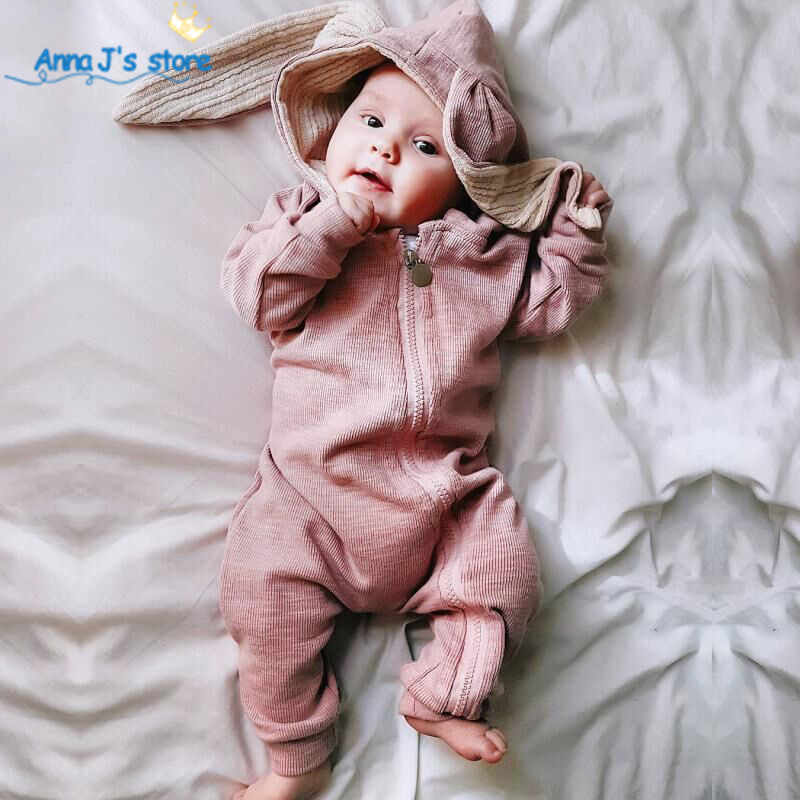 Winter Autumn Baby Clothes cotton Baby Boys girls Clothes Cartoon 3D Rabbit Ear Rompers Jumpsuit Newborn Infant Rompers ppy516