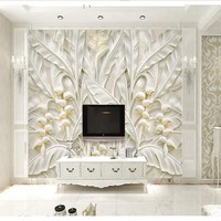 Customized Large Wallpaper Beige Yellow 3d Stereo Continental Relief Leaves TV Background Wall Nonwovens Super Green