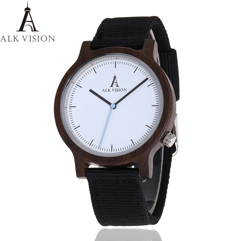 ALK Vision Mens Wooden Watch Male Wood Canvas nylon strap simple Sports quartz Wristwatch Women ladies Wrist Watch 2018 woodfish bamboo wood watch for mens simple quartz watch handmade high quality wooden wristwatch wood leather strap available