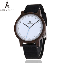 ALK Vision Mens Wooden Watch Male Wood Canvas nylon strap si