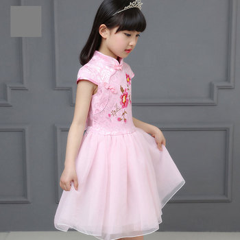 1f3edb91e9626d0 Детская одежда летнее платье для девочек возрастом от 6 до 12 лет платье  Cheongsam для учащихся начальной школы 8 летнее платье для девочек 10, 9 лет