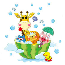 Cute Animals in the Bath Shower Wall Stickers Bathroom Bubbles Stickers for Kids Room Baby Room