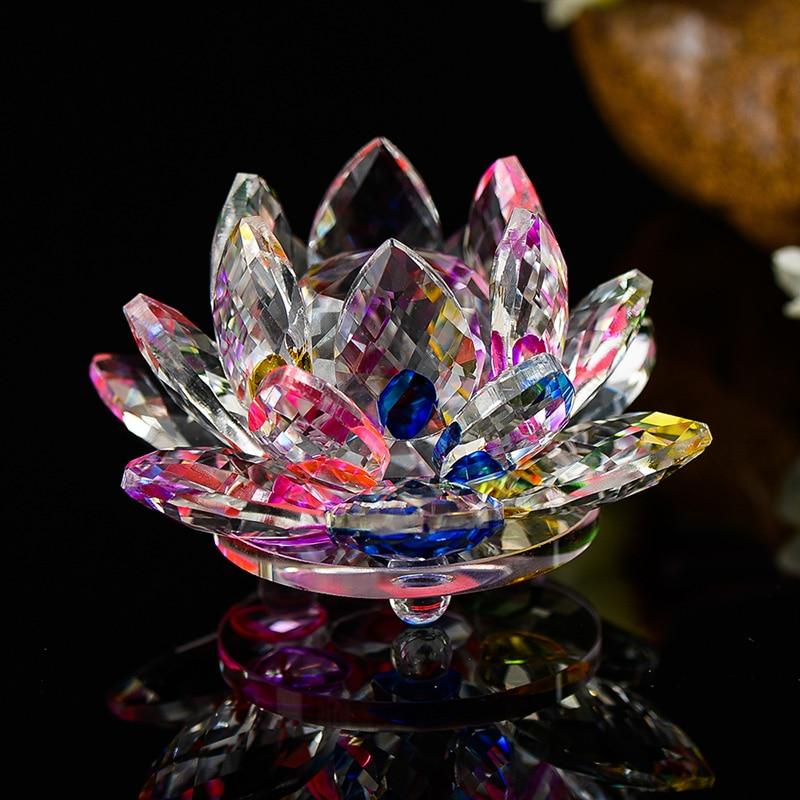 80mm Quartz Cristal Fleur De Lotus Feng shui Artisanat Presse-papiers En Verre Ornements Figurines Accueil Noce Décor Cadeaux Souvenir