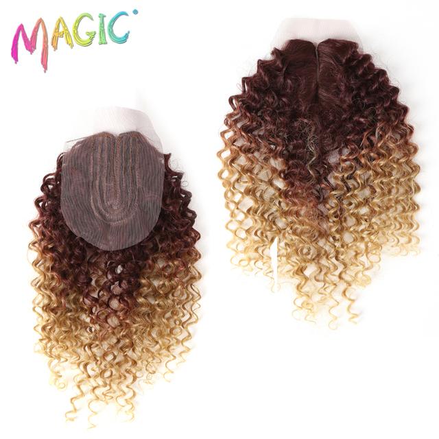 Syntetyczne Afro Kinky kręcone włosy blond 16-20Inch 7 sztuk/lot syntetyczne przedłużanie włosów 6Pieces z zamknięciem koronki dla czarnych kobiet