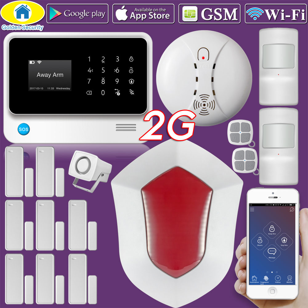 Golden Security G90B Plus WIFI 2G GSM Russian Spanish English French Dutch Alarm System APP Control Home Security Alarm wifi gsm alarm systems security home alarma casas g90b android ios app remote control english spanish russian dutch word menu