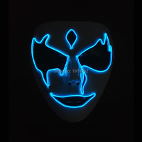 2019 Newest DC 3V EL wire Night ghost Mask masquerade Mask glowing Festival LED Neon Glowing Party Mask Halloween Supplies