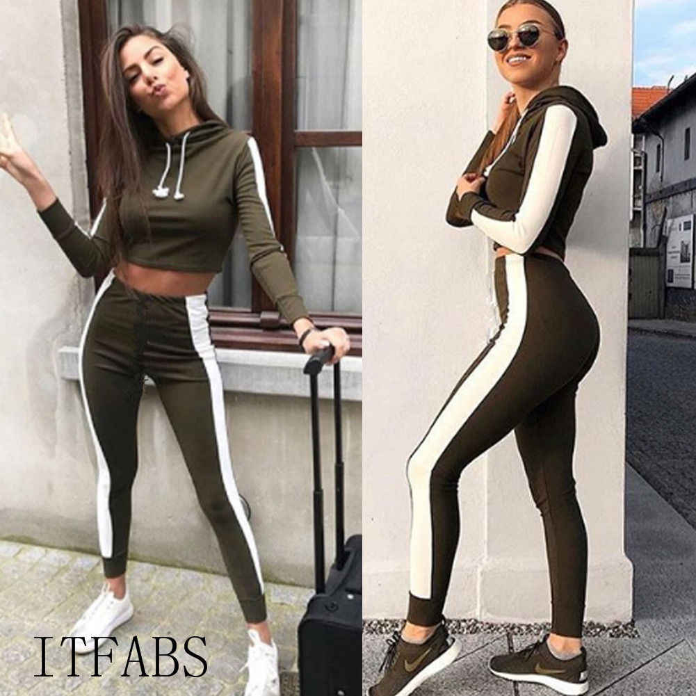 Two piece set Women workout Fashion tracksuit Long Sleeve Crop Top Hooded  Kpop Hoodies Pants Striped Casual Bodycon 2 piece set 7d70303ca