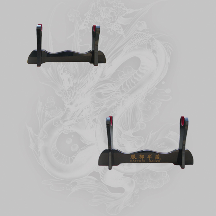 Wooden Sword  Display Stand  Black Glossy Lacquered-One Layer