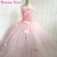 Pink Champagne Hydrangea Flower Girl Dress Elastic Handmade Children Wedding Birthday Party Tulle Tutu Dresses Fairy Clothes