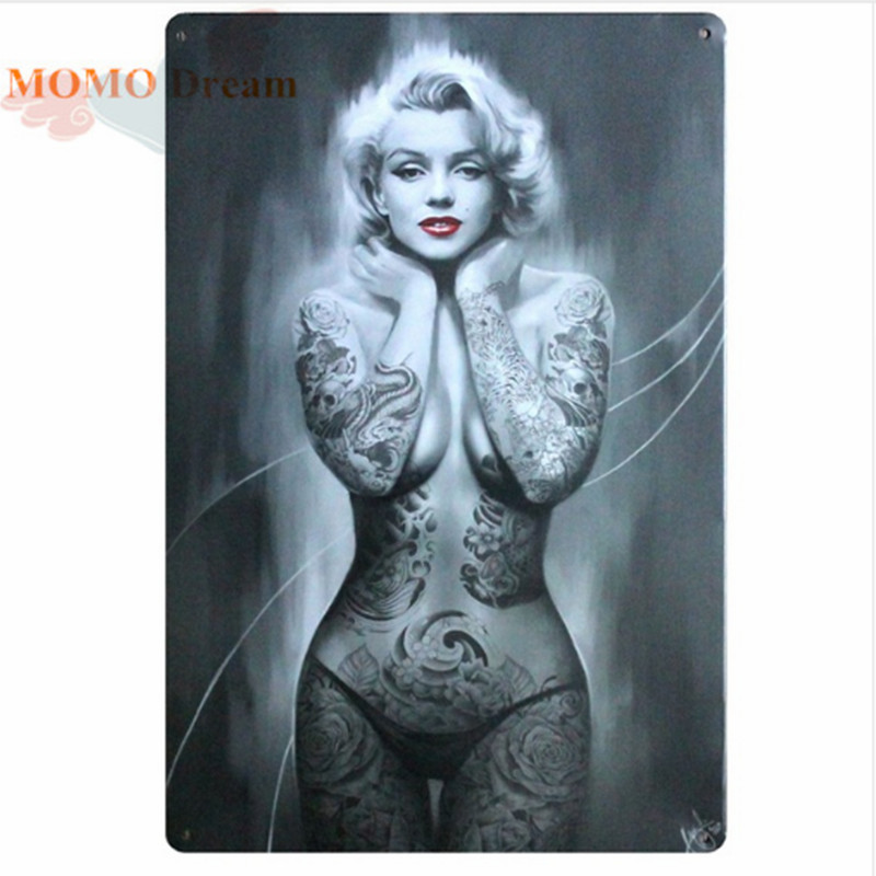 1pcs Sexy Tattoo Marilyn Monroe Metal Sign Mural Painting Antique Room Party parlors Cinema Poster Decor 20X30 CM