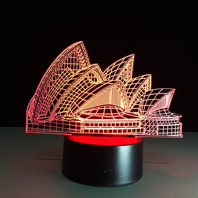 Acrylic 7 Color Sydney Opera LED Nightlight Of Bedroom Lamp Livingroom Lights Desk Table Decoration Night Light