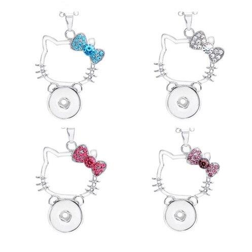 4 вида цветов новые Hello KITY кулон Цепочки и ожерелья мультфильм кнопки ювелирных изделий для детей подарок кулон нет цепи (Fit 18 мм снимки)