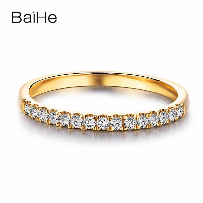 BAIHE Solid 14K Yellow Gold Engagement Wedding Ring Round Cut Diamond Eternity Anniversary Band