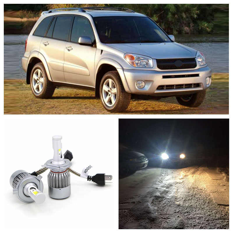 Edislight 72W 7600LM LED Headlight Kit Hi Lo Beam Bulbs For 2001 2002 2003 2004 2005 Toyota RAV4  White High Low Beam Car Light