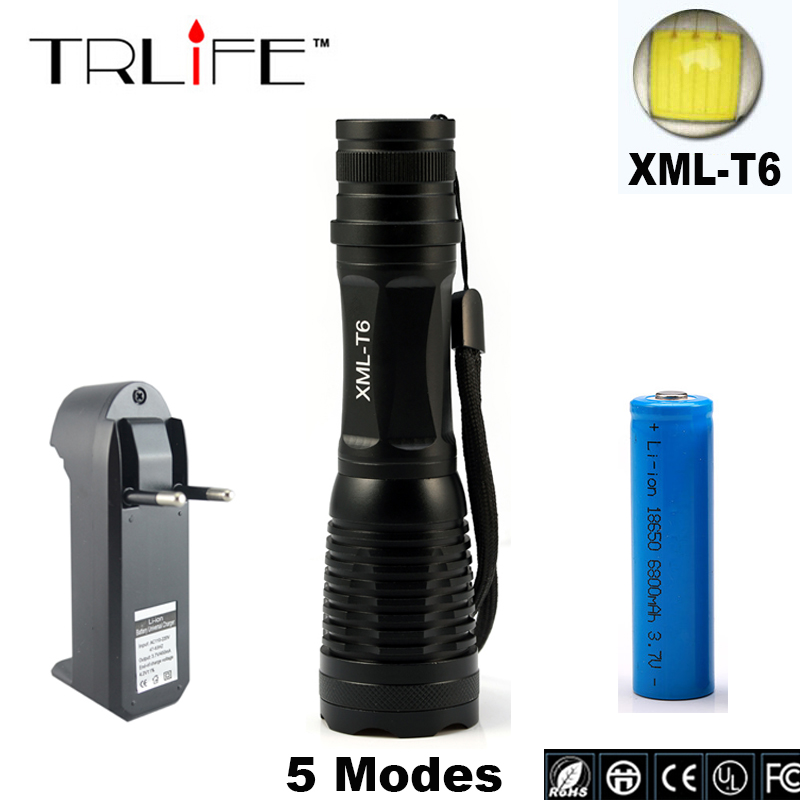 Bicycle 3800lm Camping Light CREE XML T6 Zoomable Outdoor Light 18650 LED Flashlight Bicycle Light Torch Lamp+Battery+Charger