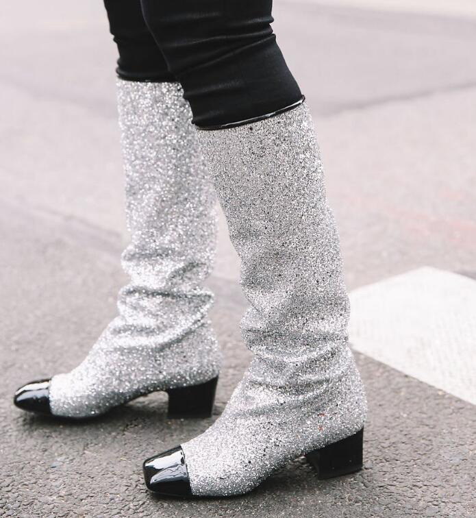 Autumn Fashion Silver Glitter Women Square Toe Boots Patent Leather Patchwork Ladies Chunky Heel Knee High Boots Knight Boots chunky heel square toe patent leather sandals