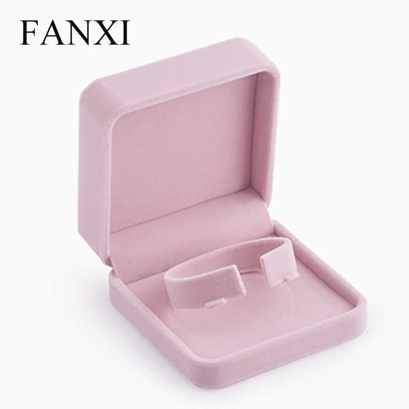 Romantic Jewelry Gift Box Pink Velvet Box Engagement Ring Necklace Earring Bracelet Packaging Storage Box Jewelry Organizer