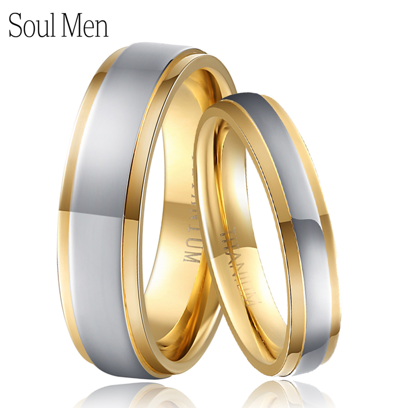 Soul Men 1 Pair Solid Titanium Wedding Ring Set Two Tone Gold with Silver Color 4mm for Women 6mm for Men Ti040R