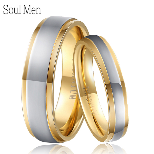 Soul Men Gold & Silver Color Pure Titanium Wedding Rings Set 4mm for Male 6mm for Female Healthy Jewelry for Sensitive Skin