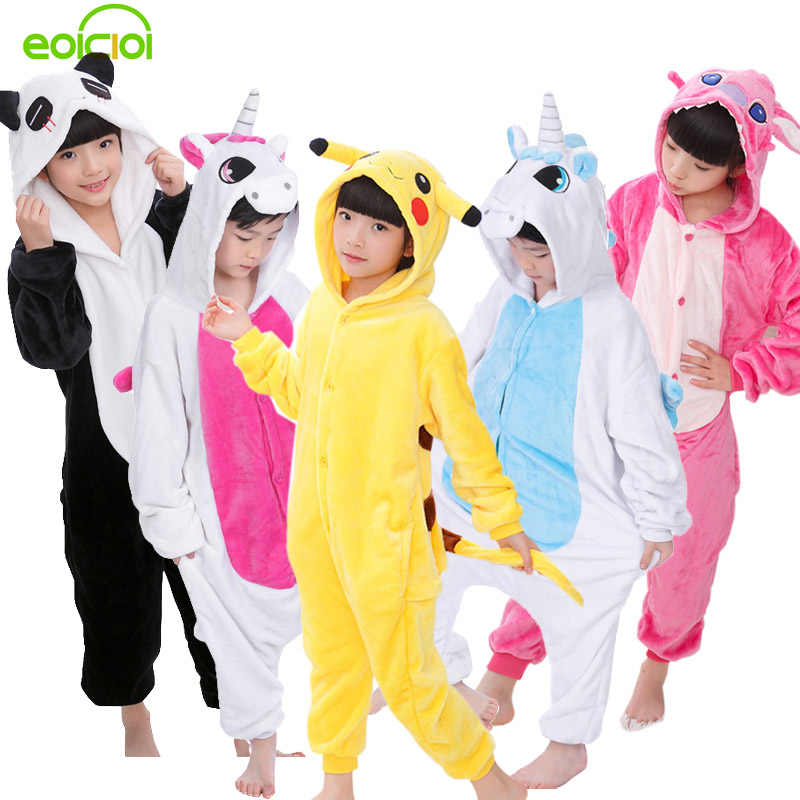 EOICIOI Nya Baby Boys Girls Pyjamas Höst Vinter Barn Flannel Animal Funny Animal Stitch Panda Pajamas Kid Onesie Sleepwear