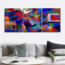 Laeacco Abstract 3 Panel Watercolor Posters and Prints Graffiti Wall Art Paint On Canvas Painting Nordic Living Room Home Decor