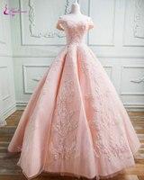 Waulizane блестящей аппликацией Кружево бисером бальное платье свадебное платье Кружево длиной до пола Длина с плеча принцессы Свадебное плать