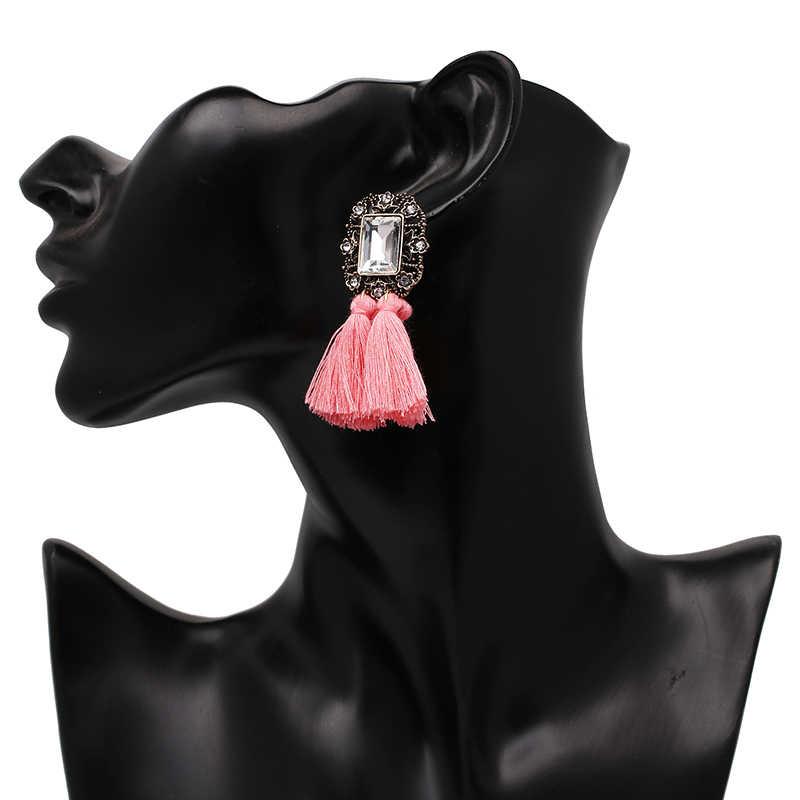 New 2019 đồ trang sức thời trang hot bán phụ nữ tinh thể tua cổ điển tuyên bố bib drop Bông Tai cho phụ nữ đồ trang sức