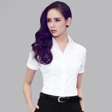 2016 Summer Plus Size Short Sleeved Slim Temperament Polo Women White Blouse Shirts Office lady White Collar Shirt