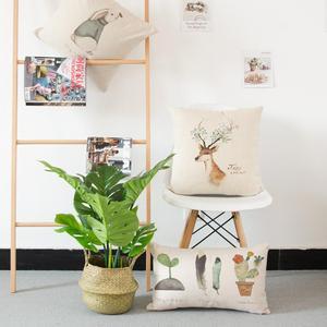 Ручная роспись милый олень Подушка простое маленькое животное кролик английский текст перо горшок для кактуса подушка для растений для дет...