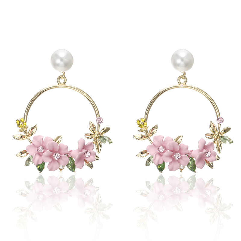 Hyperbole Flower Drop Earrings For Women Round Flower Pendant Puck Pink Pending Gold Circle Pendientes Earring Female Jewelry