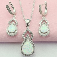 ASHLEY Geometric White Australia Opal White Topaz 925 Silver Jewelry Sets Drop Earrings Pendant Necklace For