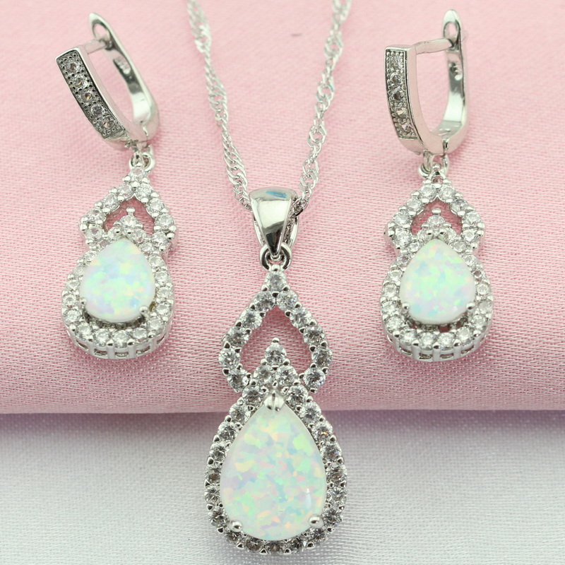 Classic White Create Australia Opal White Stone Silver Color Jewelry Sets Drop Earrings Pendant Necklace For Women Free Gift Box