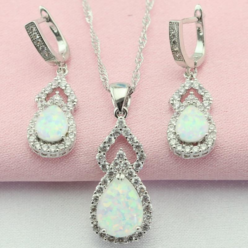 Alb clasic Creați Australia Opal piatră albă argintiu Seturi de bijuterii Cercei colier pandantiv colier pentru femei cutie cadou gratuită