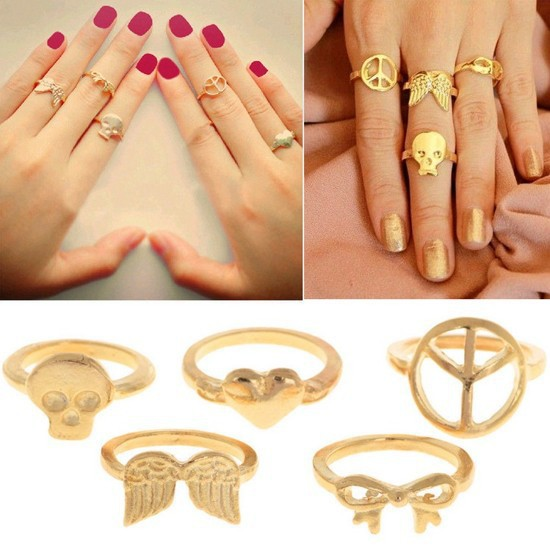 Wholesales women girl 5Pcs Vogue Gold Rings Skull Bowknot Heart