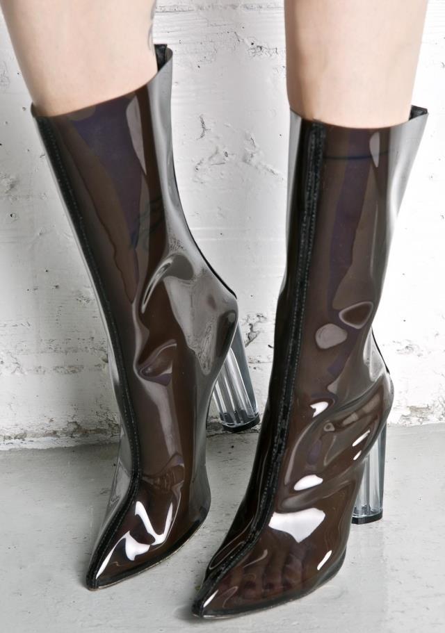 2017 haute qualité printemps automne parti robe chaussures femmes bout pointu Perspex talon chaussons Mujer PVC Transparent bottines