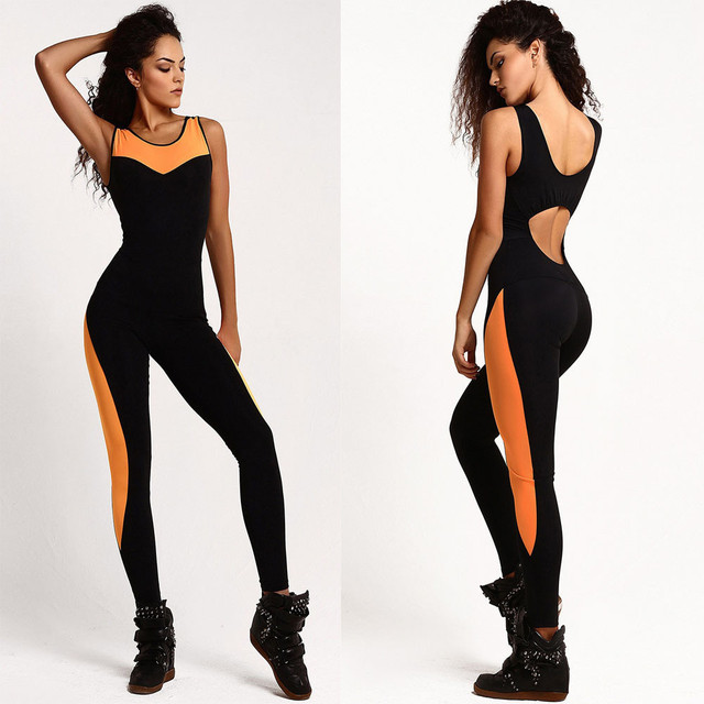 Jumpsuit Women Backless Sexy Sleeveless 2016 Bodysuit Overalls Patchwork Bandage playsuit Rompers summer body