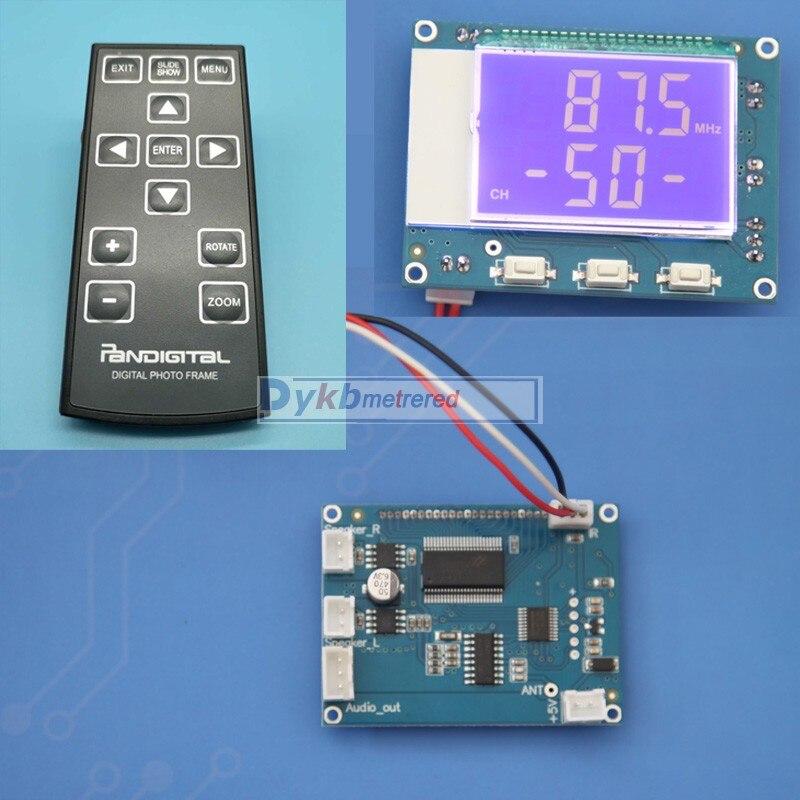 DYKB 76-108 Mhz FM estéreo Digital módulo receptor FM Radio Digital + pantalla LCD remoto IR 5 W + ajuste de volumen del amplificador de potencia de 5 W
