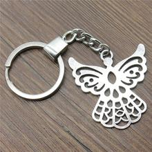 Keyring 41x39mm Angel Guardian Antique Silver Color Men Jewelry Car Key Chain Ring Holder Souvenir For Gift