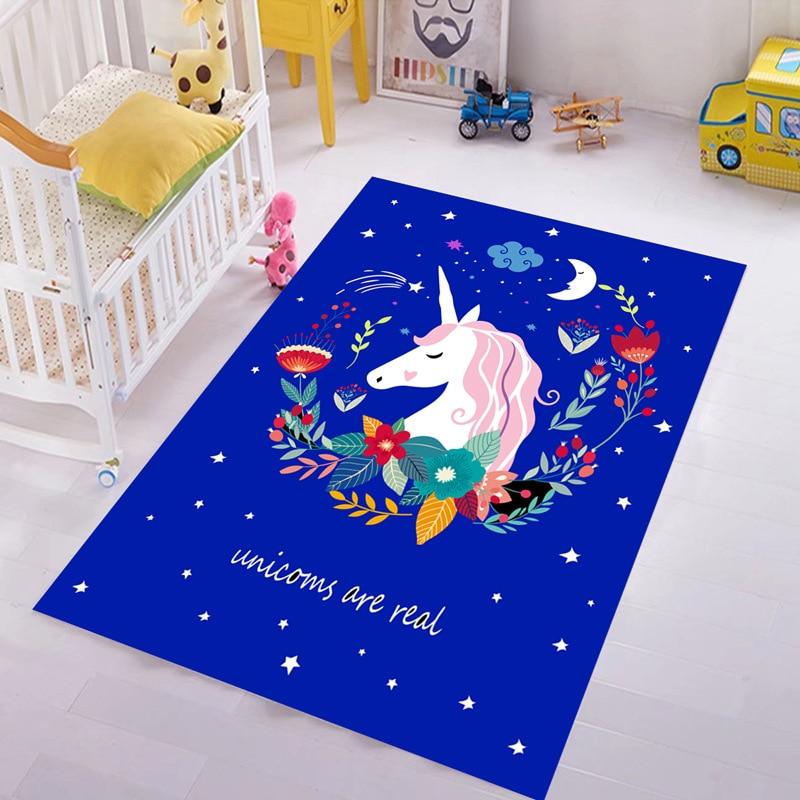 Enfants bleu licorne étoiles fleurs tapis pour salon chambre grand tapis salon couloir tapis cuisine bain antidérapant tapis