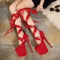 Clubwear fetiche Bombas Mulher sapatos plataforma gladiador bandagem alça destacável ultra muito cinta do tornozelo do salto alto sandálias de festa