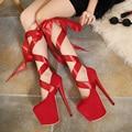 Fetiche Clubwear Bombea zapatos de Mujer gladiador vendaje desmontable correa de plataforma ultra alto talón del tobillo correa de las sandalias del partido