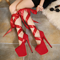 Fetish Clubwear Pumps Woman shoes gladiator bandage detachable strap platform ultra very high heel ankle strap sandals party