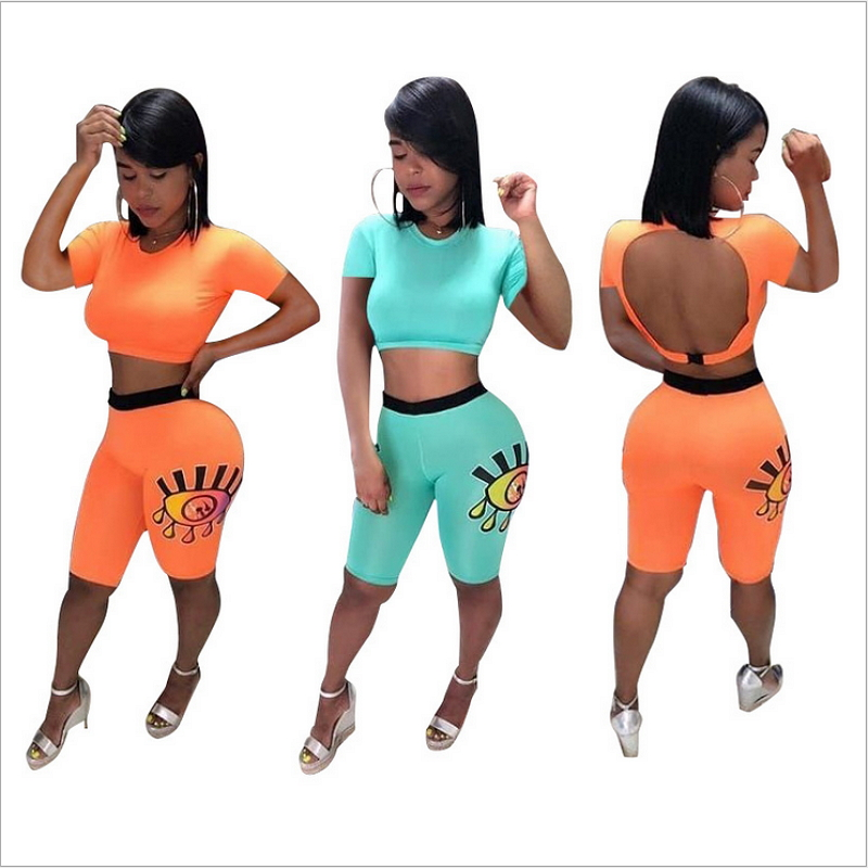 Open Back Crop Top Short Sleeve Knee Length Pants Eye Offset Printed Bodycon Bodysuit Sexy Casual Playsuits Bandage Outfits Midi in Women 39 s Sets from Women 39 s Clothing
