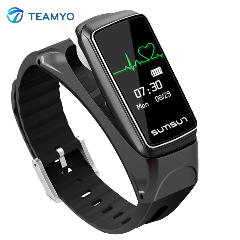 Teamyo Bluetooth Smart Band Talkband B7 Heart Rate Pedometer Smart Bracelet Sport Health Wristband with Music