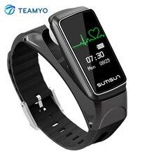 Teamyo Inteligente Bluetooth Banda Talkband B7 Pulsera Inteligente Podómetro Del Ritmo Cardíaco Del Deporte Salud Pulsera con Reproductor de Música Llamada Respuesta