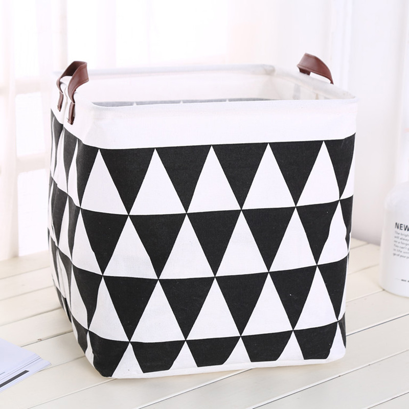 Image 2 - Foldable organizer Storage Basket Folding For Cotton Linen Art Nordic Wind Large Toy Storage Box Barrel organizador-in Foldable Storage Bags from Home & Garden