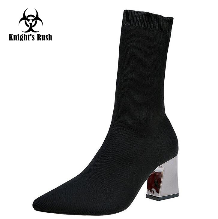 Spring Fashion Knitted Women Boots Woman Stilettos Ankle Boots Slim Sexy High Heels Knitting Shoe Sock Slip On Stretch Boots